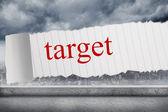 Target against balcony overlooking city — Stockfoto