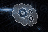 Composite image of cogs and wheels in cloud — Stock Photo
