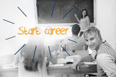 Start career against students in a classroom — Foto Stock