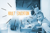 Adult education against students in a classroom — Stock Photo