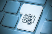 Composite image of camera on enter key — Stockfoto