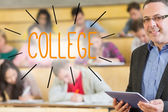 College against lecturer standing in front of his class in lecture hall — Stock Photo
