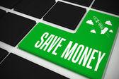 Сэкономить деньги на черной клавиатуре — Стоковое фото