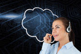 Cloud and call centre worker — Stock Photo