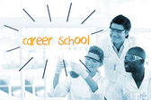 Career school against scientists working in laboratory — Stock Photo