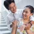 Couple showing engagement ring on womans finger — Foto de Stock   #45102337