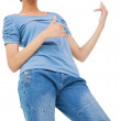 Pretty brunette playing air guitar — Stock Photo #45103583