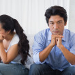 Couple not talking after a dispute on the sofa — Stock Photo #45104459