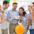 Businessmen team celebrating a birthday — Stock Photo #45106625