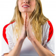 Nervous football fan in white — Stock Photo #45108693