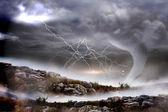 Stormy sky with tornado — Stock Photo