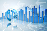Global business graphic in blue — Stock Photo