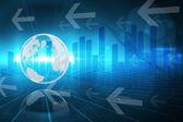 Gráfico de negocios globales en azul — Foto de Stock