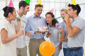 Businessmen team celebrating a birthday — Stock Photo