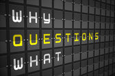Questions on black mechanical board — Stock Photo