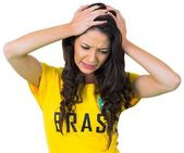 Disappointed football fan in brasil tshirt — Foto Stock