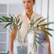 Fired businesswoman holding box of her things — Stock Photo #45111993