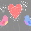 Love birds with heart and dandelions — Stock Photo #45114097