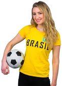 Pretty football fan in brasil tshirt — Foto Stock