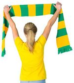 Football fan in brasil tshirt — Foto Stock
