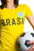 Pretty football fan in brasil tshirt — Stockfoto