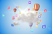 Cloud  with hot air balloons — Stock Photo