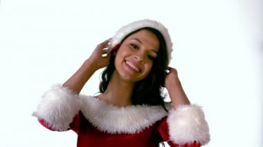 Brunette in santa outfit smiling — Stock Video