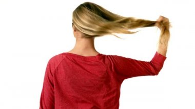 Blonde taking down her hair — Stock Video