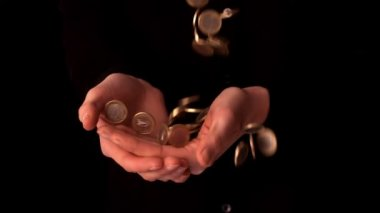 Woman catching falling euro coins — Stock Video