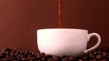 Hot coffee pouring into white cup — Stock Video