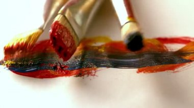Paintbrushes dropping on page — Stock Video