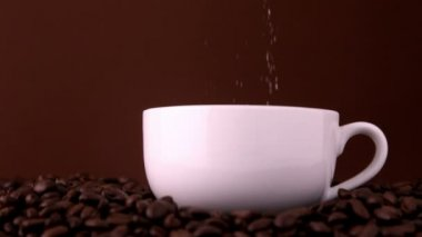 Sugar pouring into white coffee cup — Stock Video