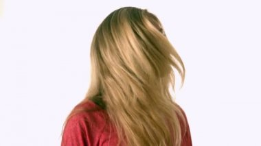 Pretty blonde tossing her hair — Stock Video
