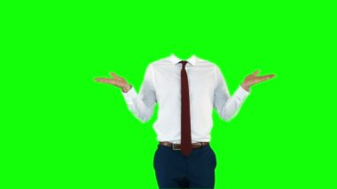 Headless businessman gesturing — Stock Video