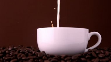 Milk pouring into white coffee cup — Stock Video