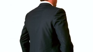 Businessman touching his painful lower back — Vídeo Stock
