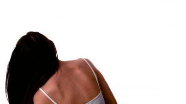 Woman shaking her black hair — Stock Video