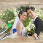 Newlyweds smiling at camera — Stock Photo #46744743