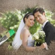 Newlyweds smiling at camera — Stock Photo