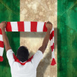 Composite image of happy football fan waving scarf — Stock Photo #46746787