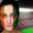 Composite image of beautiful ivory coast fan in face paint — Stock Photo #46747465