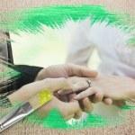 新郎花嫁の指にリングを置くことの合成画像 — ストック写真 #46748137