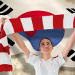 Fan waving red and white scarf — Stock Photo #46748157