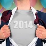 Businessman opening shirt in superhero style — Stock Photo #46749533
