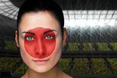顔の塗料で美しい日本ファンの合成画像 — ストック写真