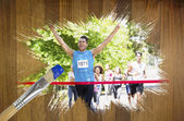 Racer crossing finishing line — Stock Photo