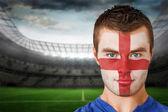 England football fan in face paint — ストック写真