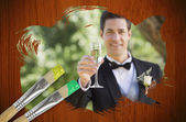 Composite image of groom toasting with champagne — Stock Photo