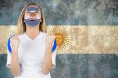 Aufgeregt argentinien-fan in bemalung — Stockfoto