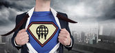 Businessman opening shirt in superhero style — Stock Photo